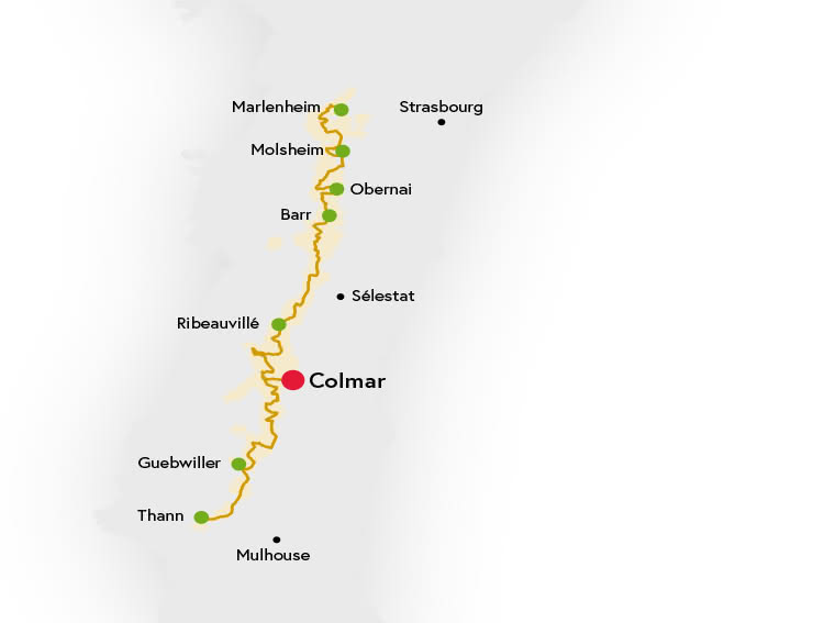 Carte Colmar Route des Vins